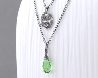 Silver Layering Necklace Silver Charm Necklace Crystal Jewelry Bohemian Jewelry Green Necklace Crystal Pendant Necklace - Solo Layering