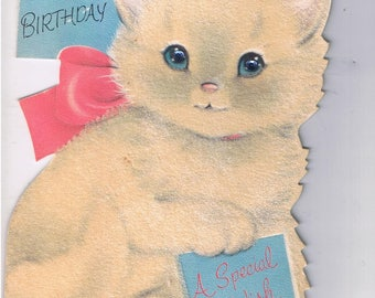 Norcross Die-Cut Flocked(both sides) Stand-Up Card~Snowball W/Rhinestone Eyes-Birthday Card-Used-Easel Card-Large Die Cut-Kitten