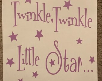 Twinkle twinkle little star, little girls room decor, wall art, vinyl decal