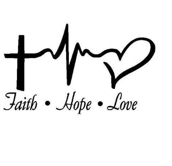 Faith hope love pulse vinyl decal religious decal faith - Faith love hope pictures ...