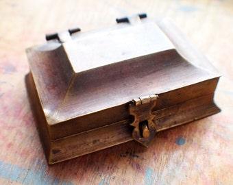 Antique Brass Jewelry Box - Stash Box - Storage Box // New Year Sale - 15% OFF - Coupon Code SAVE15