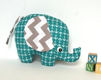 Nautical Theme Stuffed Elephant,  Elephant Softie, Elephant Pillow, Soft Baby Toy