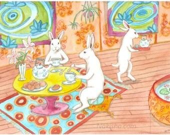 RESERVED for LS - Original Art - Tea House - Watercolor Rabbit Painting