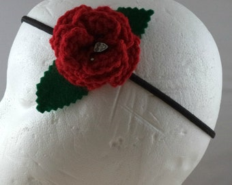 Crocheted Rose Headband - Red with Harlequin Charm (SWG-HH-VIHQ01)