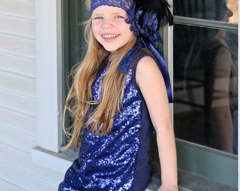 NavySequin Dress - Navy Sequin Tunic -Sequin Shift Dress - Birthday Dress - Party Dress - Sequin Tank Dress -  Navy Dress