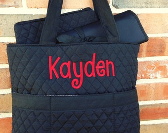 Black Quilted Diaper Bag - Personalized Boy Diaper Bag - Monogrammed Diaper Bag - Boy Diaper Bag - Embroidered Diaper Bag - Embroidery