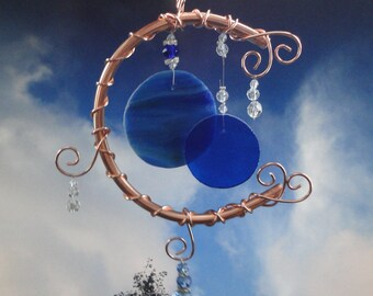 Blue Moon, Stained Glass, Wind Chime, Home Decor, Garden Decor, Full Moon, Celestial, Mobile, Window Hanging, Porch Hanging, Sculpture