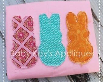 Raggy Edge Bunny Trio Applique Design 4x4, 5x7, 6x10, 8x8
