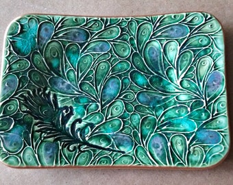 Ceramic Trinket  Dish peacock feathers edged in gold peacock green jewelry dish soap dish