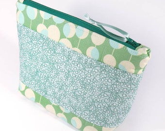 ZIPPER POUCH - Bubble Dots - Cosmetic Bag Aqua Teal