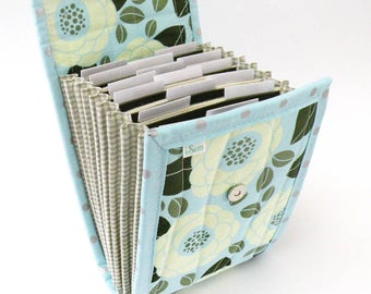 Circular Needle Case - Ice Blue Modern Floral - Needle Holder Needle Wallet Circular Needle Organizer