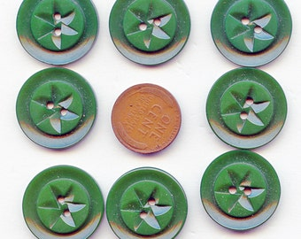 """Matching Set of (8) Vintage Carved Dark Green Casein Buttons Pinwheel Design 7/8"""" NOS New Old Stock 3787 MORE AVAILABLE"""