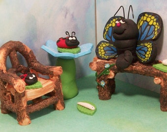 Ladybugs butterfly and worm friends with bench and chair, miniatures fairy garden, gnome or terrariums