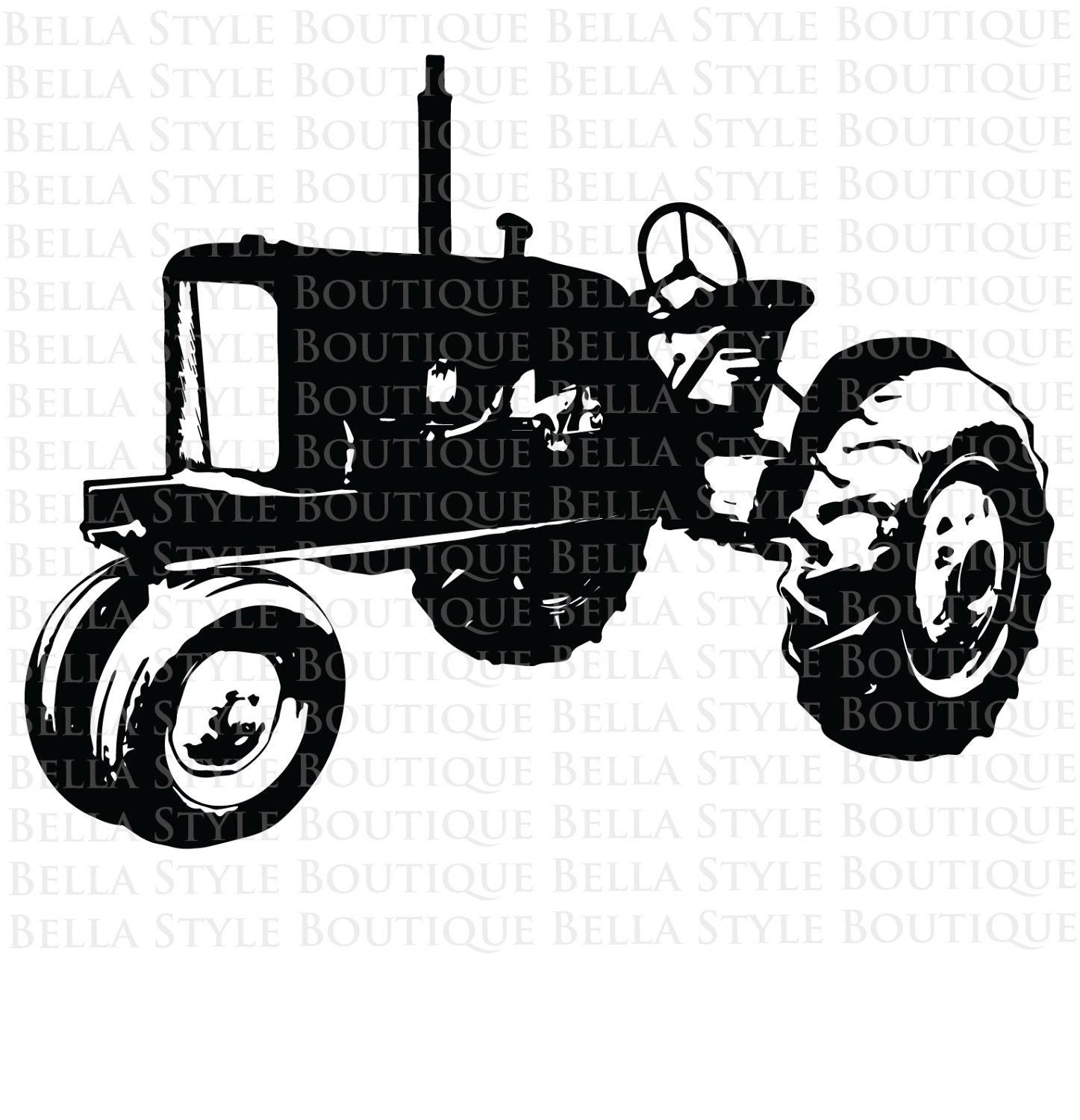Antique Tractor Silhouette : Vintage tractor svg cut file