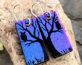 Tree & Owl Dichroic Glass Earrings - Hand Etched Split Design Purple Pink Glass Art