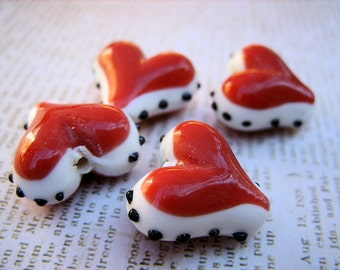Lampwork Beads - Red Hearts with Black and White Design - Valentine's Day Jewelry