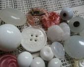 22 Vintage Milk Glass and Glass Buttons . As Found.