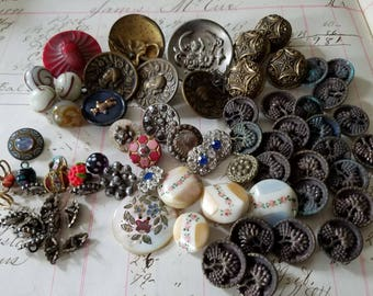 70 Antique Victorian Vintage Buttons. Metal, Glass, Shell, Other. As Found.