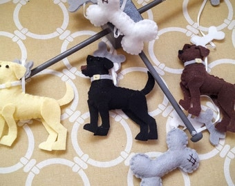 "Baby Mobile - Baby Crib Mobile - Dog  Mobile - Nursery Baby Room ""Loveable Labs"""