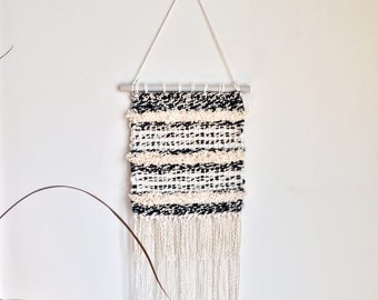 Black and White with Cream Stripes Handwoven Wall Hanging Fiber Art Modern Minimalist Textured Weaving Crimped Fringe Handmade