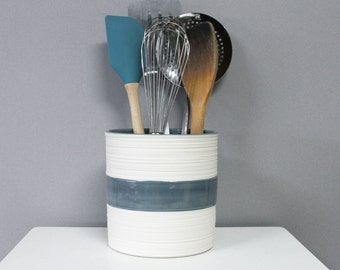 Modern Utensil Holder Kitchen Crock in Blue Grey, Groove Crock