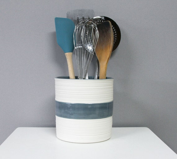 Modern utensil holder kitchen crock in blue grey groove crock for Modern kitchen utensil