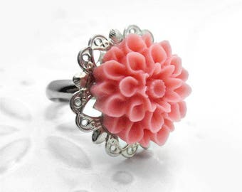 Flower Ring, Pink Ring, Pink Adjustable Ring, Resin Rose Ring, Silver Ring, Silver Ring, Flower Jewelry, Silver Flower Ring, BLUSHED ROSE