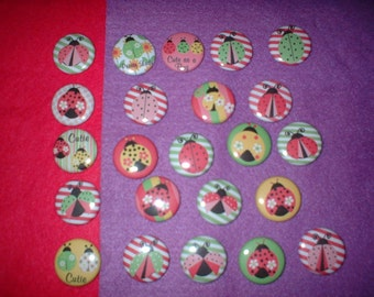 23 Buttons With ladybugs  on Front.    For  Hair Bow CentersMagnets,Hair Clips1