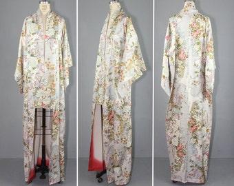 vintage kimono / floral / silk robe / HABITUAL GARDEN silk kimono