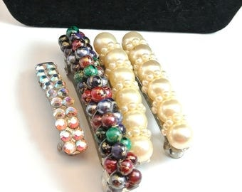 Multiple Hair Clips Vintage Hair Barrettes Bead And Gem Hair Barrettes Metal Hair Clips