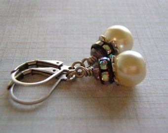 Pearl Sparkle Earrings Antique Silver Lever Back Rhinestones and Glass Pearls