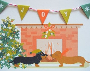 Christmas Holidays Dachshunds Doxies Dogs JOY Banner Tree Fireplace  Flag Garland Blank Note Card with Envelope