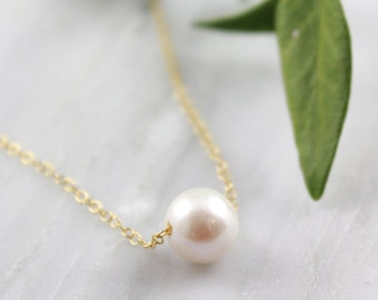 Floating Pearl on Gold Chain Necklace