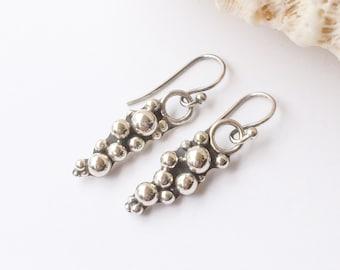 Cluster Sterling Silver Earrings, Weekend Casual Handcrafted Pebble Design Dangle Earrings, Boho Chic Artisan Silversmith Statement Earrings