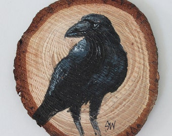 Raven No. 7 Original Acrylic Art, Painted on Wood Slice