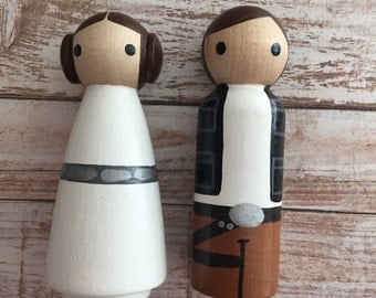 Star Wars Peg People PegBuddies Doll Princess Leia, Han Solo