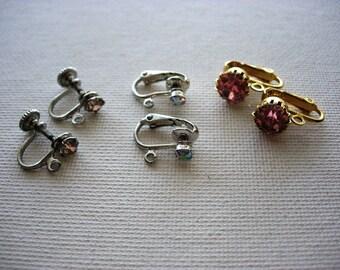 Three Pairs of Vintage Rhinestone Earrings Jewelry Components