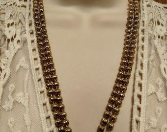 1950s Gold Bib Double Strand Bead Necklace Vintage Estate Jewelry Beaded Pin Up Girl Burlesque