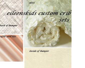 Pink and Ivory  Luxury Baby  Crib     Nursery  Bedding   with Peach satin for  Amy T. only 1st payment