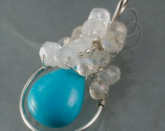 Turquoise & Rainbow Moonstone Wire Wrapped Pendant