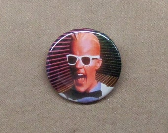"Max Headroom White Suit & Sunglasses Button 1.25"" Badge Pinback Cult Sci-Fi TV"