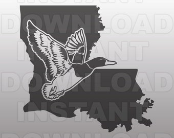 Duck Hunting Louisiana SVG File,Mallard SVG File,Drake svg -Commercial & Personal Use- Vector Art for Cricut,Silhouette Cameo,vinyl decal