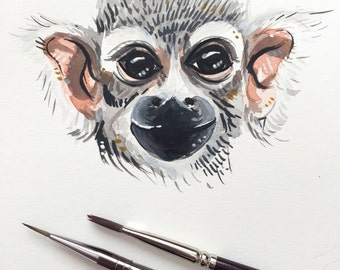 Curious Monkey - Print of an original painting