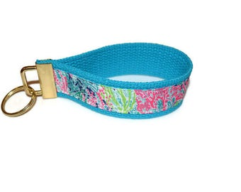 Lilly Pulitzer Inspired Ribbon Key Ring Wristlets
