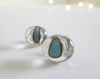 Earrings, Small Glass Earrings, Post Earrings, Handmade Fused Glass Earrings, Sterling Silver Posts, Unique Earrings