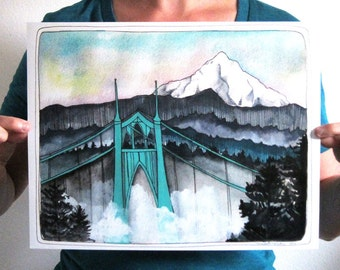 "Art - St Johns Bridge Print - Mt Hood Print - Portland Art - Portland Print - Art Print - Landscape Art - 11x14"" Print - SJB and Mt Hood"