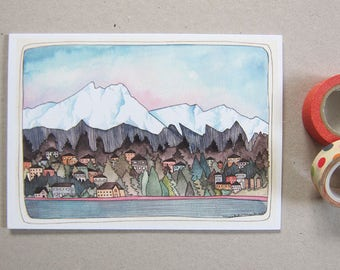 Olympic Mountains - Greeting Card - Blank Card - Northwest Art Card - Olympic Mountain Card - Greeting Card - Olympic Mountains Card
