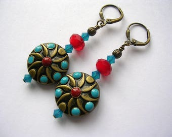 Coral and Turquoise Earrings in Bronze Leverback Hooks Swarovski Crystal Dangle Earrings
