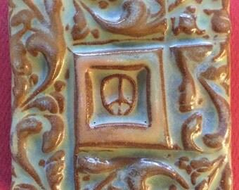 Sign for Peace handmade earthenware tile by tilesmile