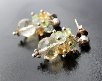 Citrine Earrings, Gemstone Cluster Earrings, Aquamarine, Peridot, Sterling Silver Posts, Petite Dangles